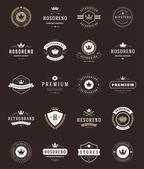 Retro Vintage Premium Quality Labels and Crowns set — Stock Vector