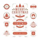 Christmas Labels and Badges Vector Design — Stock Vector