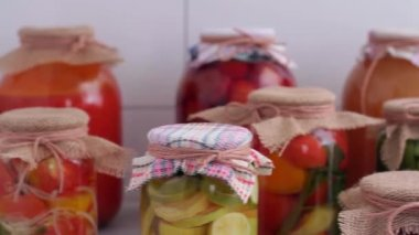 Homely canned food — Stock Video