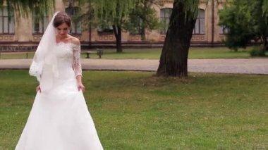 Bride in  white dress — Stock Video
