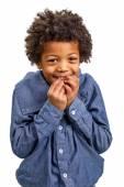 Harmful black boy — Stock Photo