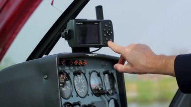 Panel control of the helicopter. — Stock Video