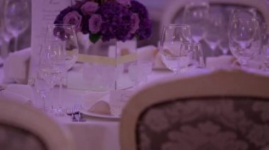 Wedding table setting. — Stock Video