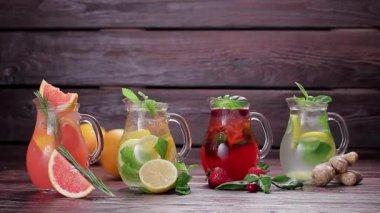 Different types of summer lemonades. — Stock Video