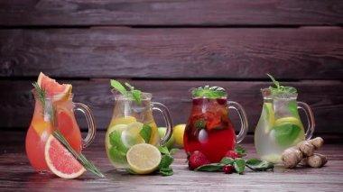 Different types of fresh lemonades. — Stock Video