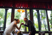 Newlyweds in the pub. — Stock Photo