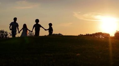 Bratři a sestry, pěšky podél pole. — Stock video