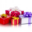 Collection row of colorful gift boxes with bows, isolated on white — Stock Photo #57917737