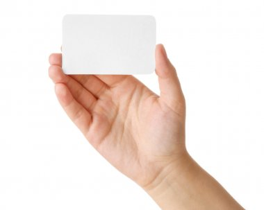 Hand holding a business card isolated on white