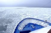 Cruise Ship bow hitting arctic waters near Spitsbergen, Svalbard, Norway. — Stock Photo