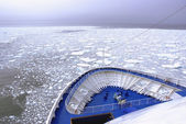 Cruise Ship bow hitting arctic waters near Spitsbergen, Svalbard, Norway. — Stock Photo