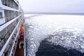 クルーズ船の弓が氷のような雪北極圏スピッツ ベルゲン、ノルウェーのスバールバル諸島近海を通過. — ストック写真