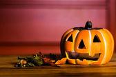 Autumn decoration on wooden table — Stock Photo