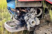 Engine of combine harvester — Stock Photo