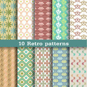 10 retro patterns — Stock Vector