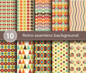 10 retro seamless background — Stock Vector