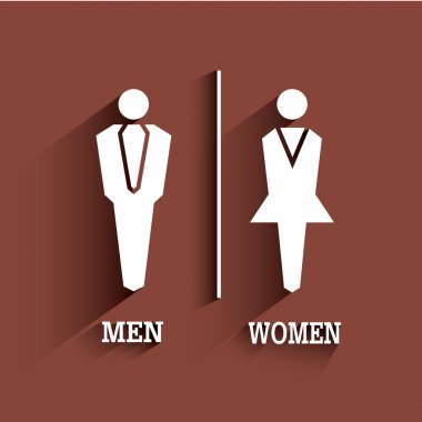 WC sign. Toilet symbol. Male and Female with long shadow.