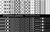 20 seamless pattern black and white — Stockvector