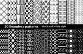 20 seamless pattern black and white — Stock Vector