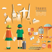 Trendy Flat Design Illustration Travel. Icons set of lifestyle items, elements and gadgets. — Stok Vektör
