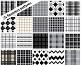 Big set seamless patterns, plaid style , pattern swatches included — Stok Vektör