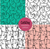 Cat seamless pattern, dog seamless pattern — Stok Vektör