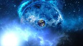 Planet Earth with sun in universe or space, Globe and galaxy in a nebula cloud — Photo