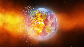 Earth burning or exploding after a global disaster, Apocalypse asteroid impact globe. — Stock Photo