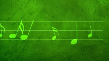 Animated background with musical notes, Music notes flowing, flying stream of Music Notes — Vídeo de stock