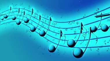 Animated background with musical notes, Music notes flowing, flying stream of Music Notes - Seamless LOOP — Stock Video