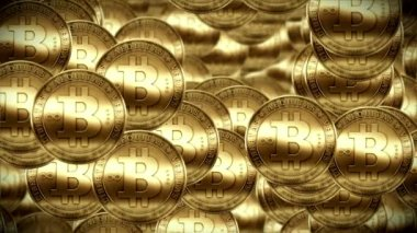 Bitcoin rain, Gold coins fallin down — Stock Video