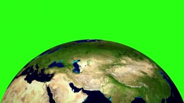 Planet Earth in space rotates 360 degrees. LOOPED animation on GREEN SCREEN — Wideo stockowe