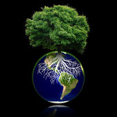 Small eco planet with tree and roots on it. Green Earth concept. — Stock Photo