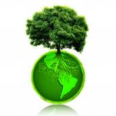Small eco planet with tree and roots on it. Green Earth concept. — Stockfoto