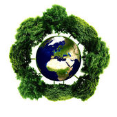Ecology planet with with trees around. eco earth — Stockfoto