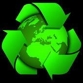 Earth with recycle signs, Arrow around the eco globe. — Stock Photo