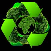 Recycle logo with tree and earth. Eco globe with recycle signs — Stock Photo