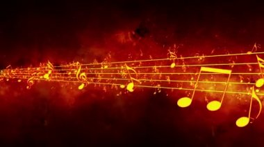 Animated background with musical notes, Music notes flowing, flying stream of Music Notes - Seamless LOOP — Stok video