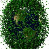 Planet earth covered with the leaves. Eco globe. — Stock fotografie