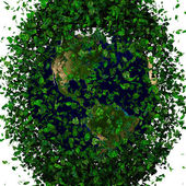 Planet earth covered with the leaves. Eco globe. — Foto de Stock