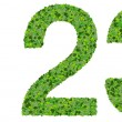1 2 3 digits, numbers made from green leaves isolated on white background. — Stock Photo #66133823