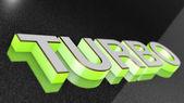 TURBO sign, label, badge, emblem or design element on car print — Stock Photo