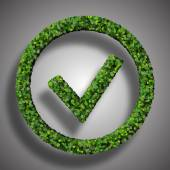 Approved, ok, like, eco sign made from green leaves isolated on black background. 3D render. — Stock Photo