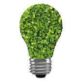Eco bulb made from green leaves. 3d render. — Stock Photo