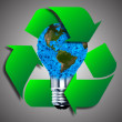 Eco bulb made from green leaves. 3d render. — Stock Photo #69300079