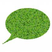 Bubble speech made from green leaves isolated on white background. 3d render. — Stock Photo