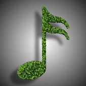 Musical note semiquaver symbol made from green leaves isolated on white background. 3d render — Stock Photo