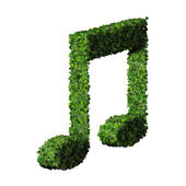 Musical note double eight symbol made from green leaves isolated on white background. 3d render — Stok fotoğraf