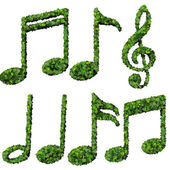Musical notes, symbol made from green leaves isolated on white background. 3d render — Stock Photo