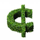 Cent (currency) symbol or sign made from green leaves isolated on white background. 3d render — Stock Photo